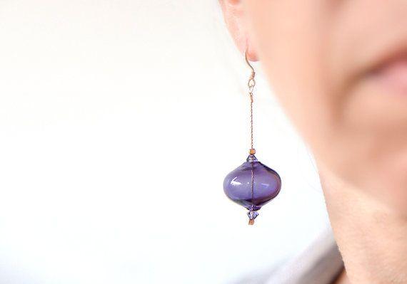 Long Earrings Glass Bubble Earrings Blown glass by BeadABoo