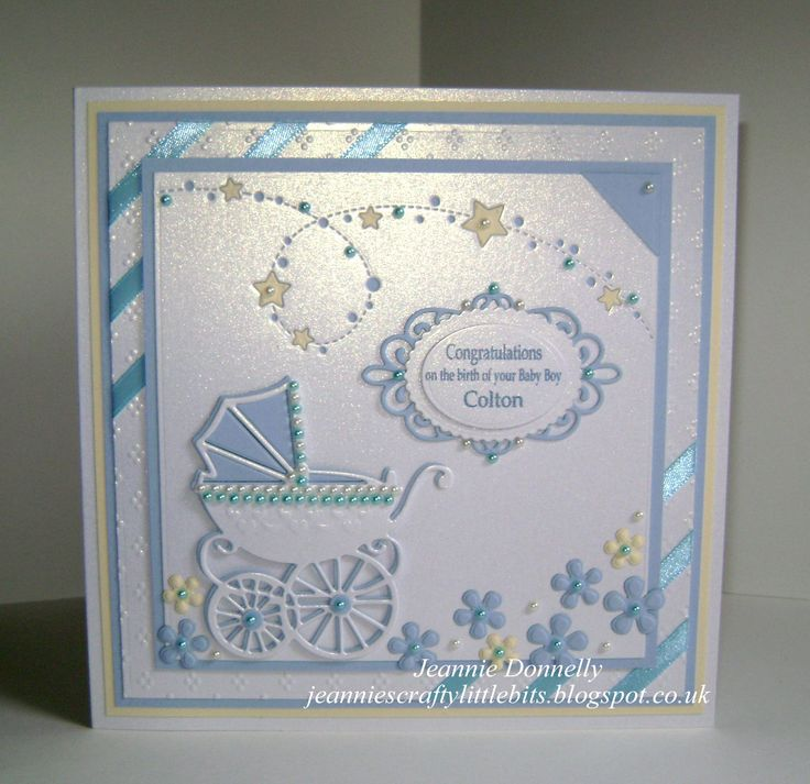 Baby Boy - using my new star die from Memory Box called Starlit Breeze also using Marianne Designs Pram, Creative Expressions / Sue Wilson Camelia Complete Petals and the little tag from the Canadian Collection - Border, Corner, & Tag, Spellbinders Grand Squares and the Dainty Dots Embossing Folder.