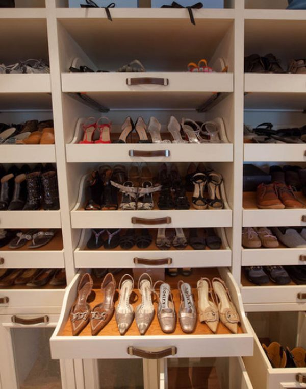 Another space where pull-out shelves can be especially useful. It's the closet. If you have a large walk-in closet then you want everything inside to be nicely organized and easy to find. Pull-out shelves are wonderful for storing shoes; 19 Unexpected, versatile and very practical pull-out shelf storage ideas