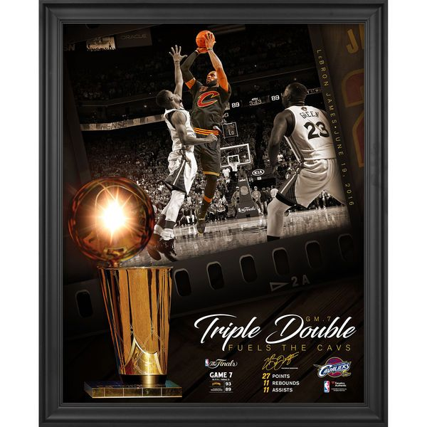 """Lebron James Cleveland Cavaliers Fanatics Authentic Framed 16"""" x 20"""" NBA Finals Game 7 Triple Double Moments Collage - $79.99"""
