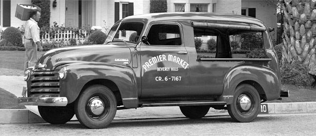 """1949 Chevrolet Canopy Express - Open-sided panel trucks were once commonly used by """"hucksters"""" who vended fresh fruits and vegetables curbside in neighborhoods.  Ahead of its time - a mobile Farmer's Market!"""