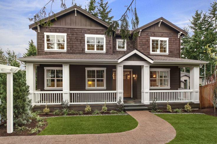 Brown house white trim amanda pinterest - Brown house with white trim ...