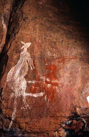 Pinturas rupestres aborígenes del territorio norte de Australia. Elegí esta imagen porque me gustan los canguros y son característicos de Australia.
