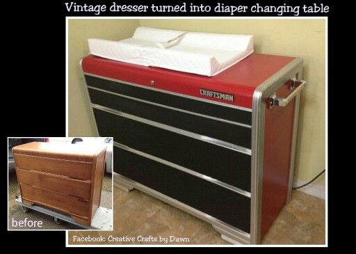 Just made this for my soon to be grandson. Took a vintage waterfall dresser and turned it into a craftsman toolbox diaper changing table station. The drawers are painted with chalk board paint so he can draw on them when he gets bigger. Also have locking casters that will be added to the bottom. Facebook: Creative Crafts by Dawn