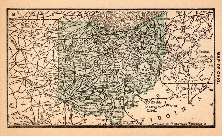 RARE Antique OHIO Map 1888 RARE MINIATURE Vintage Map of Ohio #3446
