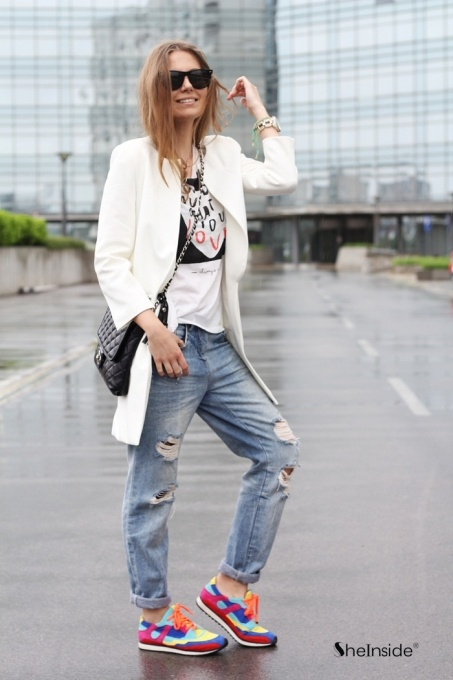 White Round Neck Longline Blazer - Womens Fashion Clothing at Sheinside.com