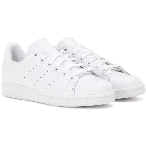 Adidas Stan Smith Leather Sneakers (395 ILS) ❤ liked on Polyvore featuring shoes, sneakers, white, white trainers, adidas sneakers, leather shoes, leather trainers and leather sneakers