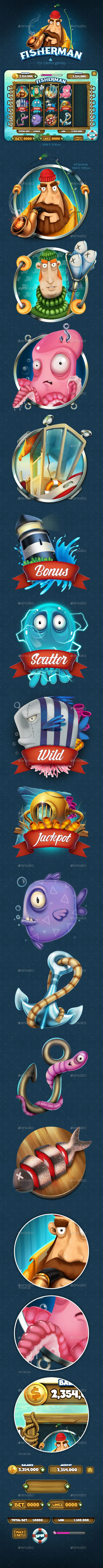 Fisherman Slot Game for Mobile Platforms — Photoshop PSD #scatter #icon • Download ➝ https://graphicriver.net/item/fisherman-slot-game-for-mobile-platforms/13977921?ref=pxcr
