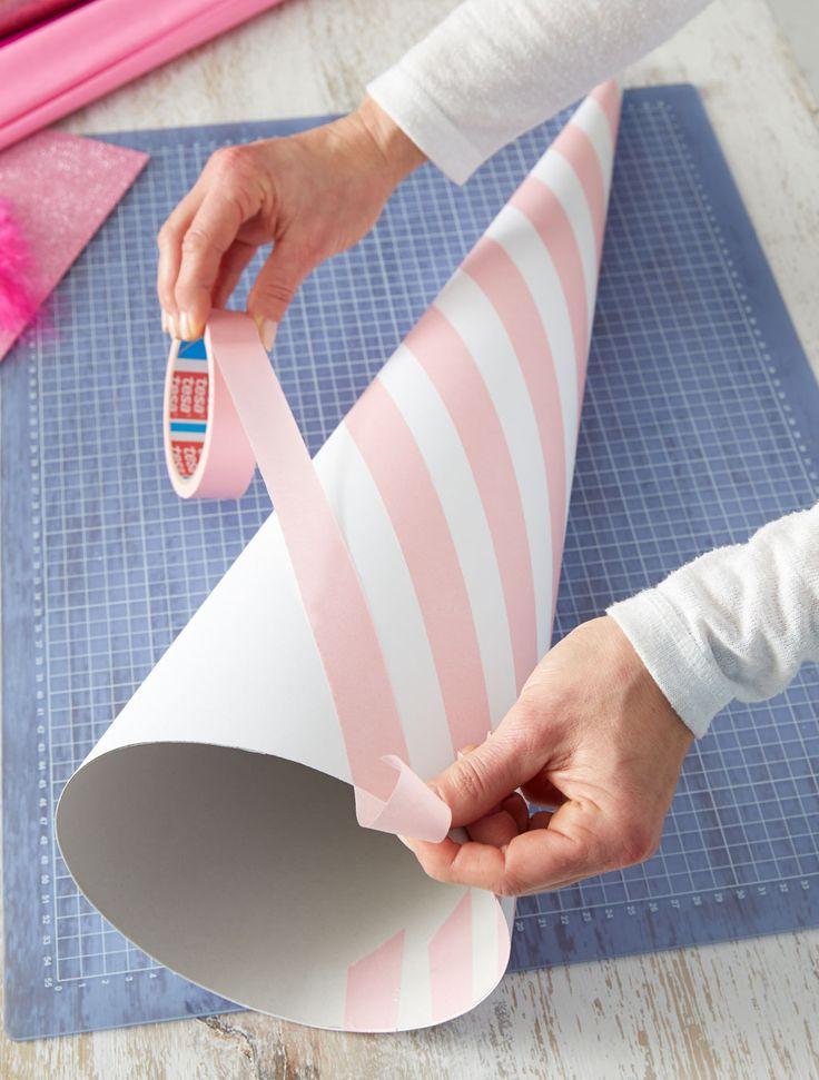 Schultüte: Mit mehr Malerband bekleben