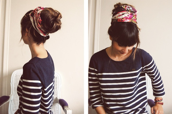 maybe I could pull this off? Sure would make a day at home feel more fun :): Hair Ideas, Head Scarfs, Scarfs Buns, Long Hair, Messy Buns, Hair Style, Socks Buns, Silk Scarves, Hair Scarfs