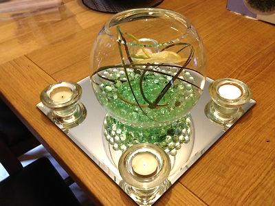 Wedding Party Table Centerpiece Anthurium fish bowl mirror tealight holder LOOK!