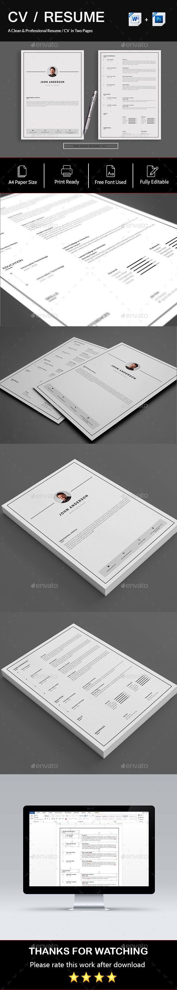 Resume/CV (2 Page) #a4 #cv doc  • Download here → https://graphicriver.net/item/resumecv-2-page/21316552?ref=pxcr