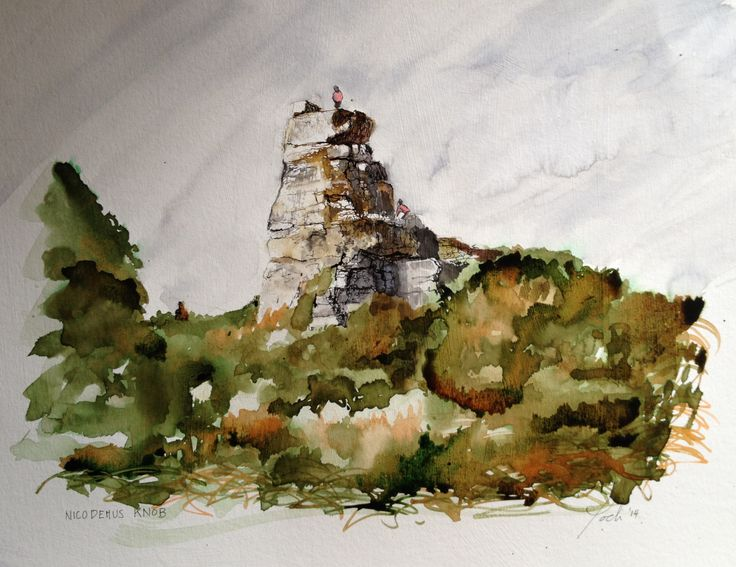 """Drawing of Nicodemus Knob, stones left by quarrymen reputably to indicate how high the earth was.  Ink and Acrylic. !2"""" x 16"""""""