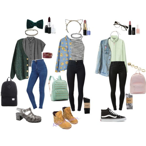 90s Grunge school outfits by stellaluna899 on Polyvore featuring Topshop, Uniqlo, Monki, J Brand, ASOS, HUF, Timberland, Vans, PB 0110 and Herschel Supply Co.
