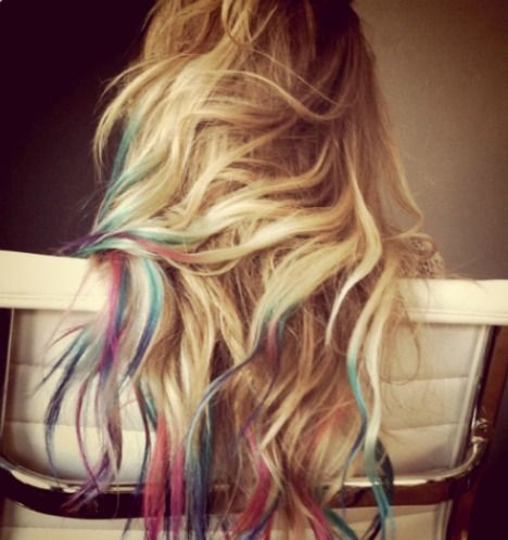 Rainbow dipped ends.: Dyed Hair, Rainbows Hair, Blondes Hair, Dips Dyed, Dips Dyes, Hairchalk, Dyes Hair, Hair Chalk, Lauren Conrad