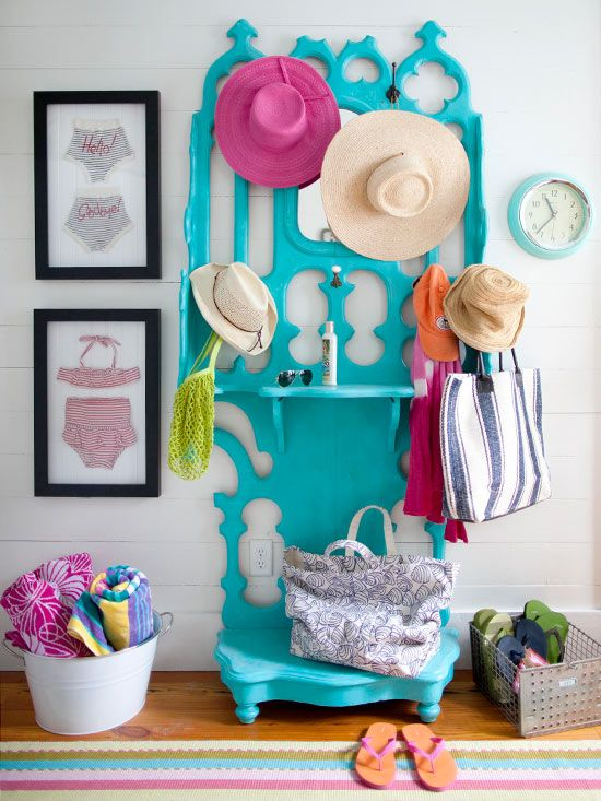 Bright EntranceBathing Suits, Coats Racks, Beach Cottages, Painting Furniture, Colors Furniture, Beach Houses, Hall Trees, Bright Colors, Beachhouse
