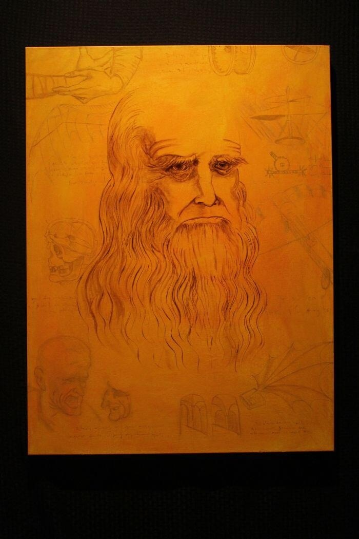 Leonardo DaVinci Painting by Santiago II. For sale: $345