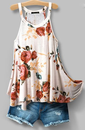 Blush Floral Racer Neck Top