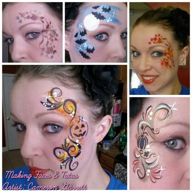 Fall/Halloween face painting with stencils designs :)