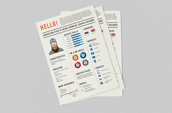 Curriculum Vitae by Anton Yermolov, via Behance