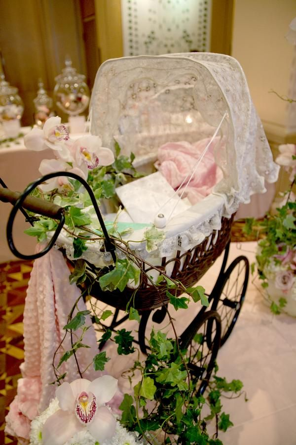 Ooo, I could use my vintage baby doll carriage as centerpiece or wishing well