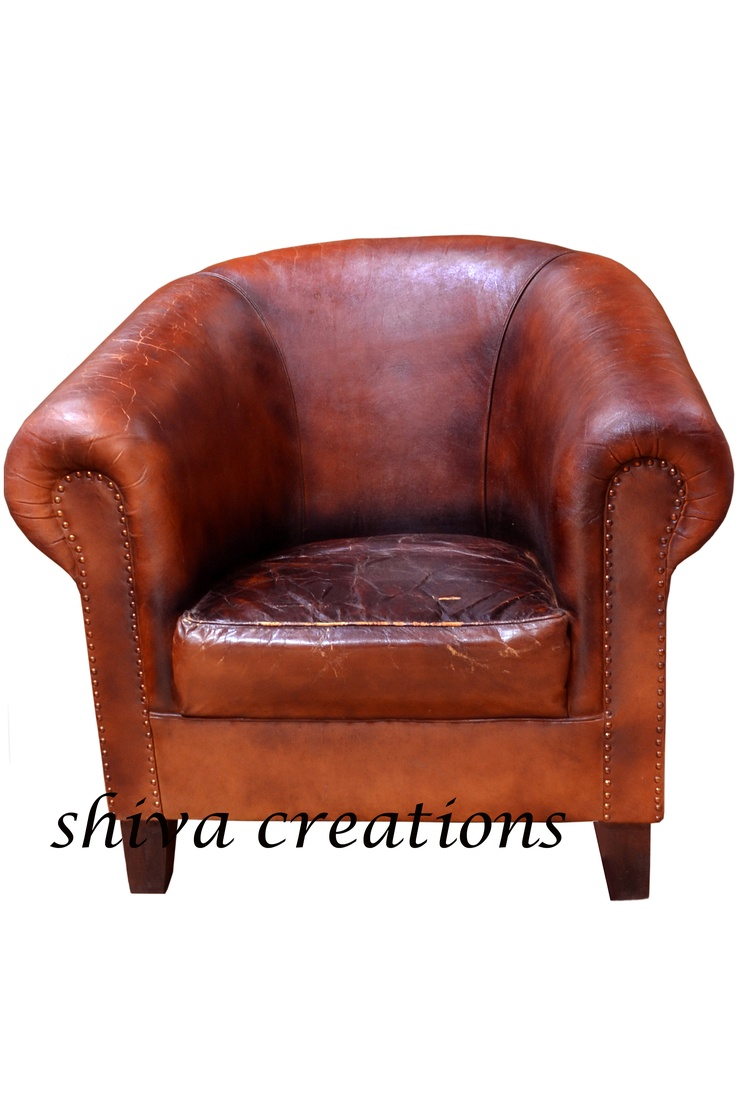 Vintage leather sofa India | Wooden leather handcrafted ...