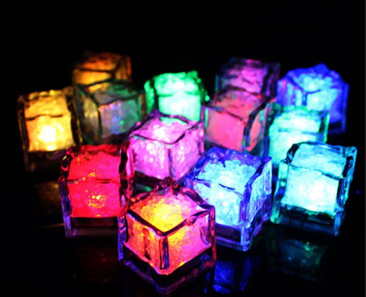 36pcs Color Changing LED Night Light ice cube Decorati Yellow Glowing Ice Cube,lighted Ice Led Wholesale For decoration mariage