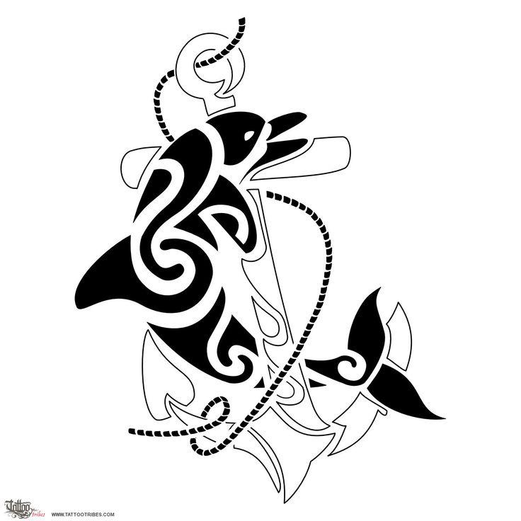 Tatuaggio di Delfino e ancora, Amore per il mare, gioia tattoo - custom tattoo designs on TattooTribes.com