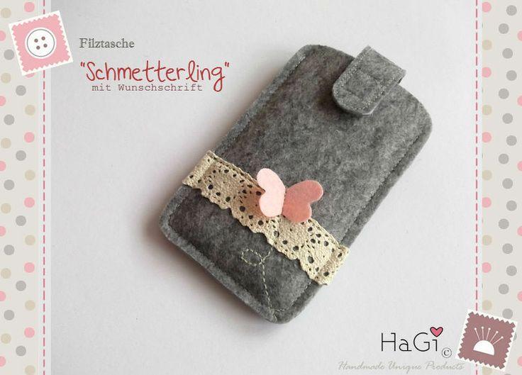 Filztasche Schmetterling  Smartphonetasche Filz  von HaGi by Herzig ♥ Genaehtes auf DaWanda.com