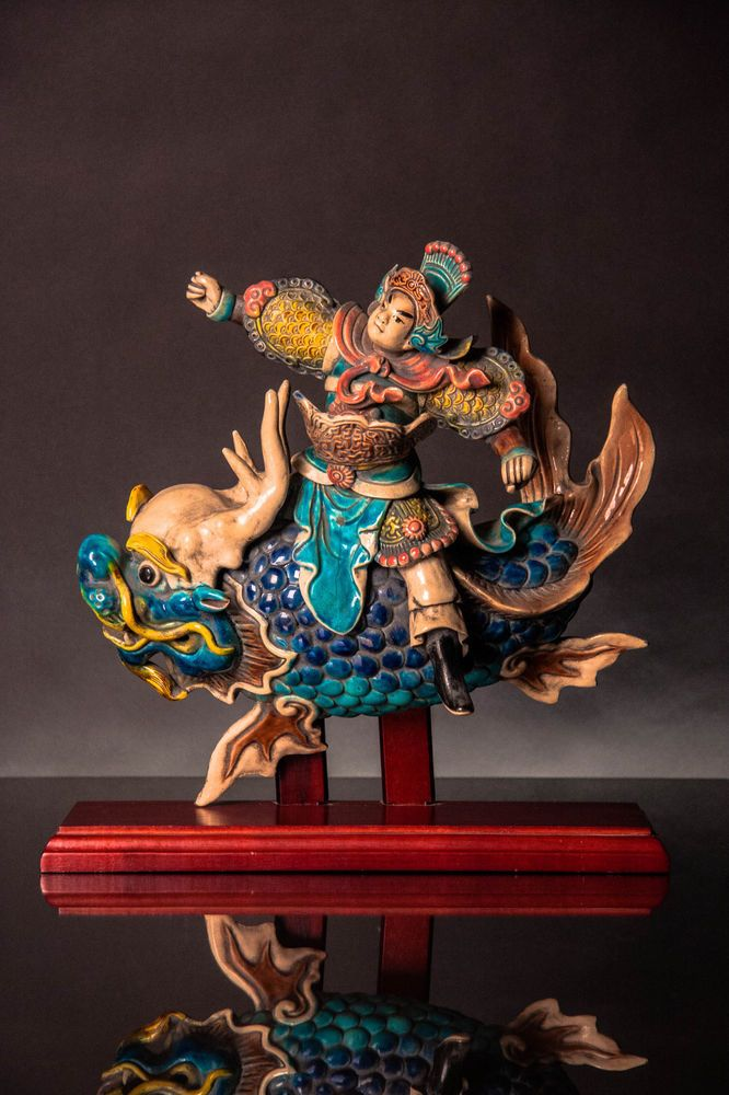 CHINESE CERAMIC ROOF TILE WARRIOR ON FISH SIGNED