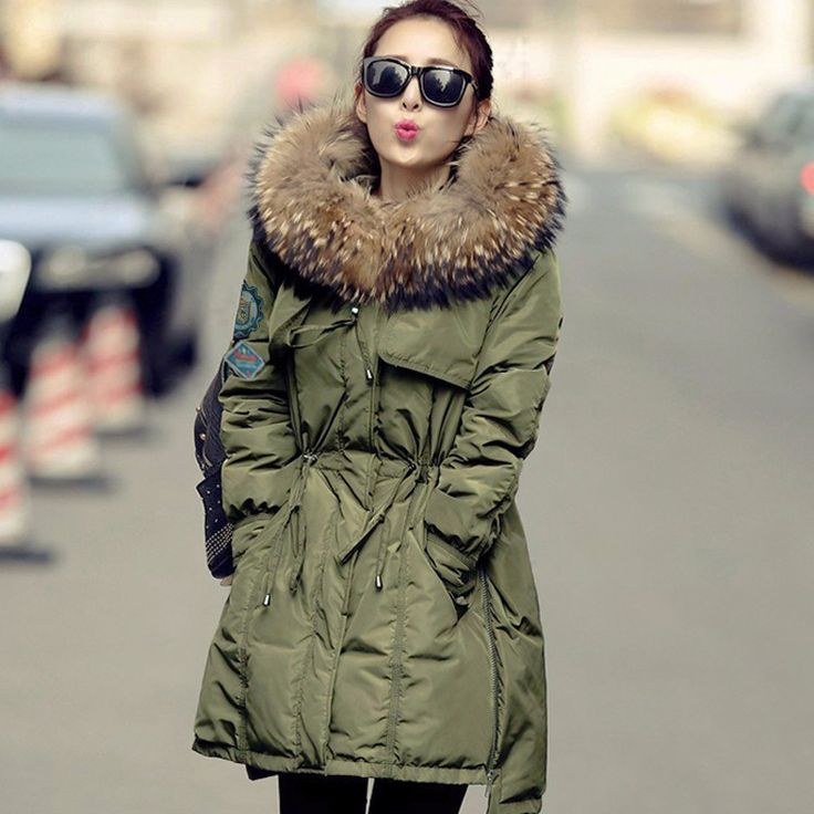 Large Real Fur 2016 Winter Jacket Women White Duck Down Parka Jackets Natural Raccoon Fur Collar Female Winter Coat Women Parkas-in Down & Parkas from Women's Clothing & Accessories on Aliexpress.com | Alibaba Group