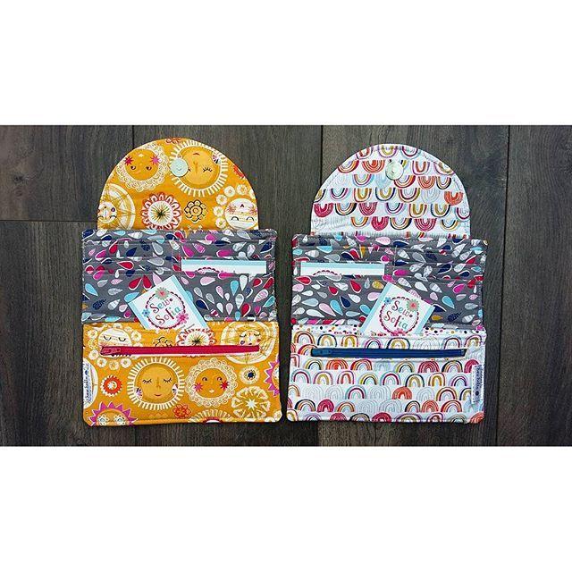 Two pretty Weather Girl wallets ready for two lovely ladies! #etsy #etsyshop #etsyuk #etsyowner #weathergirl #rainorshine #sunshine #raindrops #rainbow #rain #weather fabric by #dashwoodstudio @dashwoodstudio pattern by @clobirddesigns
