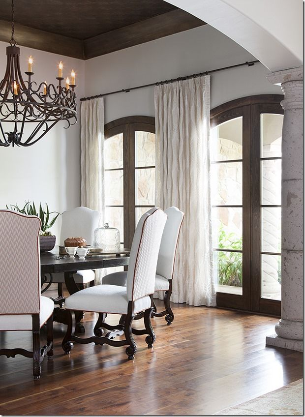 Before & After | Spanish Style | Dining Room | Open Concept | French Doors | Chandelier Lighting | Natural Elements | Neutral Colors | Transitional