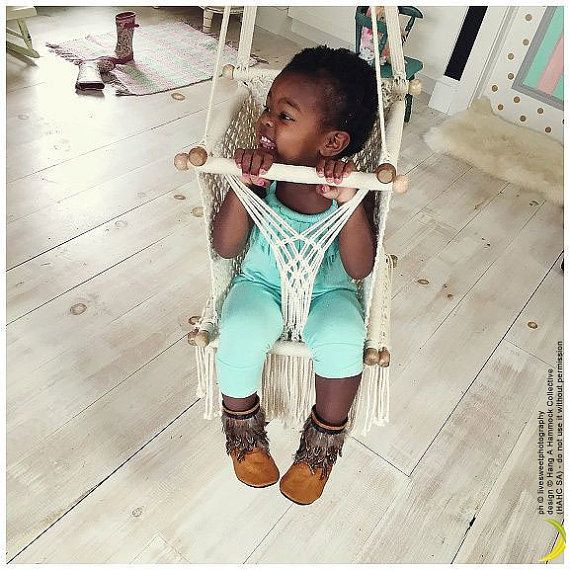 Baby Swing Chair in Macrame   Soft Cotton   Ecru-Cream   HIGH QUALITY   with handmade pillow on request