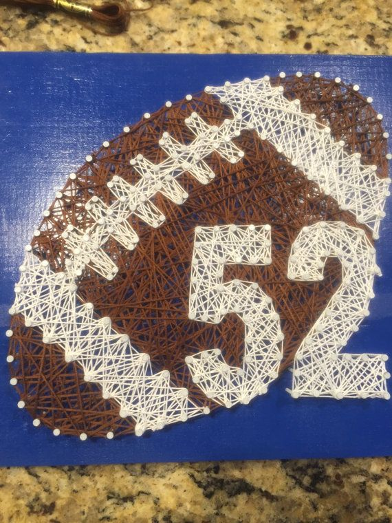 High school or middle school football. Numbers can be changed to match your childs along with colors. 9x9 piece of string and nail art