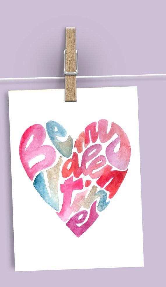 Be My Valentine Digital Print Valentine's by ElettrasHappyLetters