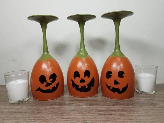 Pumpkin Candle Holder, Pumpkin Decor, Pumpkin Candle, Halloween Wine Glasses, Halloween wine glass, Halloween Candles, Halloween Candle Sets