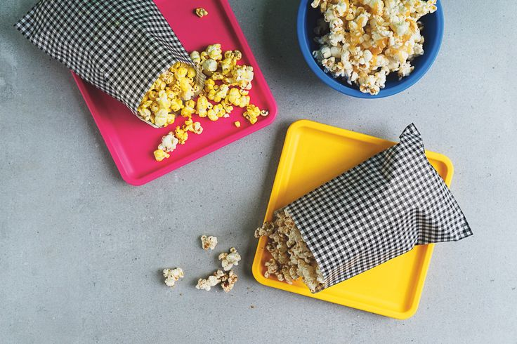 Turmeric, Cumin Cinnamon + Coriander Popcorn, Tahini + Honey Popcorn + Brown Sugar + Cinnamon Popcorn featured in Lunch Lady Issue Four. Lunch Lady Magazine available at http://shop.hellolunchlady.com.au/