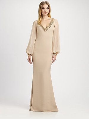 Notte by Marchesa Beaded Silk Chiffon Gown