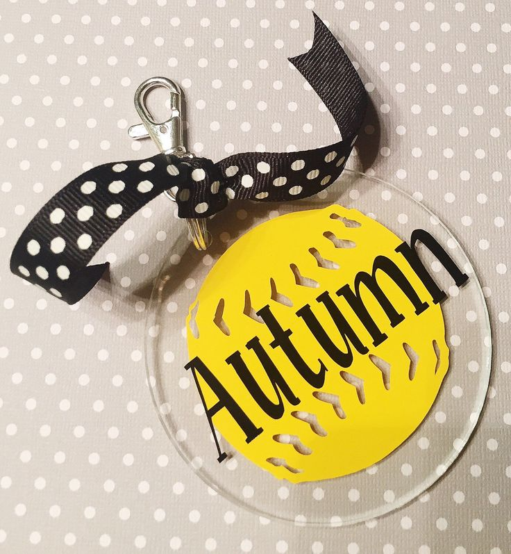 Personalized Softball Bag Tag / Keychain by PumpkinsandPoppies on Etsy https://www.etsy.com/listing/245867534/personalized-softball-bag-tag-keychain