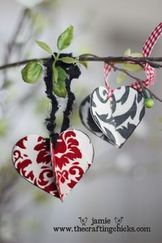 """Ornaments - how sweet these are!  A person could make a """"Valentine Tree"""" with these!  Spray paint some branches white, place in a small decorative urn that's chippy, hang hearts made from vintage papers and wow!"""