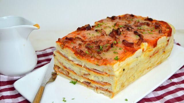 Pastel pizza con pan de molde