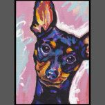 Here's a wonderful, bright, fun, tribute to your best friend and favorite breed- the Min Pin! from an original painting by Lea