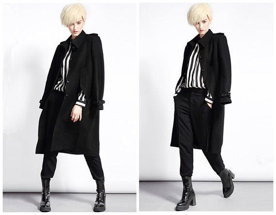 Wool coat for women in black convertible from BWG studios.