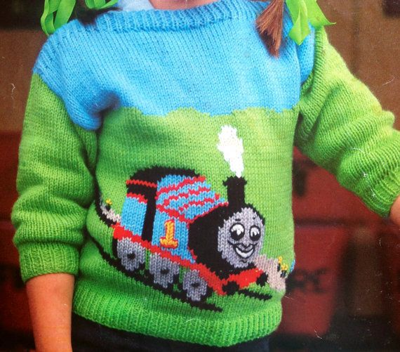 thomas the tank engine knitting pattern childs jumper 20-28 inch chest intarsia sweater