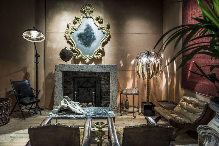 Antique mirror, interior, living room, Maison Jansen, fireplace, leather design chairs, palm tree, turtoise shell, curiosities, vintage