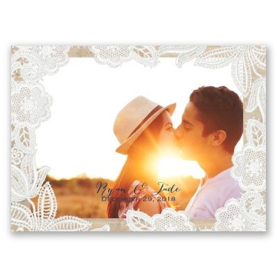 Embroidered white lace placed delicately over a woodgrain frame gives these save the date postcards a charming country look. Your wording is printed in your choice of colors and fonts. Save the date postcards require no envelopes for mailing and need only postcard-rate stamps.