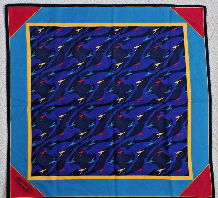 Yves Saint Laurent Qantas Airways Flight Attendant Uniform Silk Scarf Australia #YvesSaintLaurent #Scarf #Any
