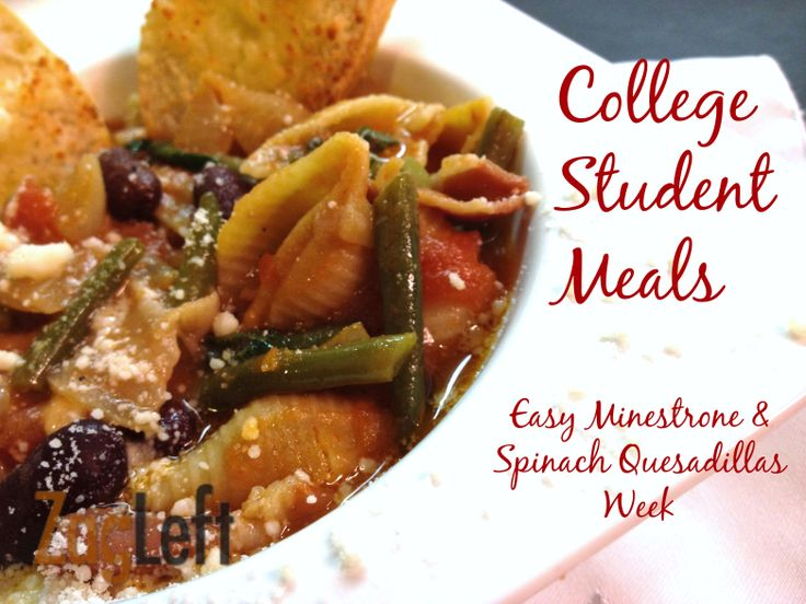 College Student Meals - Easy Minestrone and Spinach Quesadillas Week - 5 easy, healthy and inexpensive recipes.