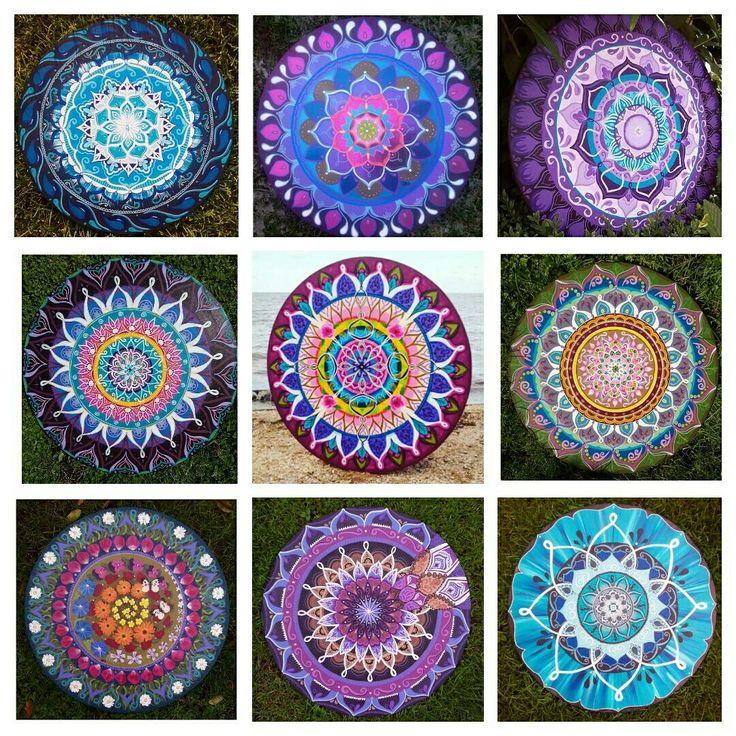 Mandala's, Boho-energy-circles op hout geschilderd. Maten tot 120cm groot  verkrijgbaar bij www.creativeartbyjessica.nl #mandala #mandalas #mandalaoftheday #painting #schilderij #art #kunst #bohemian #bohostyle #hippie #hippiestyle #hippiechic #bohoenergycircle #yoga #roundie #fashion #mindfulness #happy #spiritualiteit